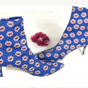 Zara women high ankle lips boot heels sz 9